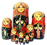 10 piece Set Russian Nesting dolls Hand Carved Hand Painted the Tale of the Golden Cockerel