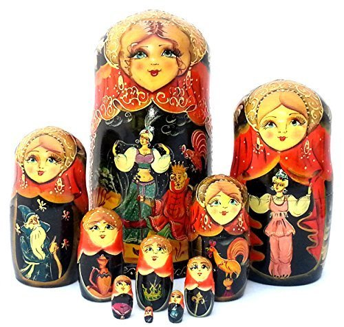 10 piece Set Russian Nesting dolls Hand Carved Hand Painted the Tale of the Golden Cockerel by BuyRussianGifts