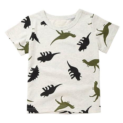 feiXIANG Ropa Infantil recién Nacido bebé niño niña Caricatura Dinosaurio Estampado Bolsillo Camiseta Camiseta Camisa Moda
