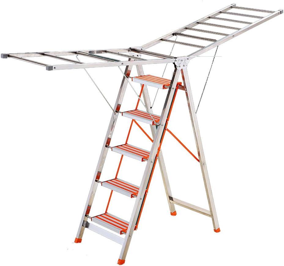 LIZILYJ Tendedero, Acero Inoxidable de pie Plegable, Escalera de usos múltiples, Naranja, suspensión casera móvil de ala casera (Tamaño : Versión Regular): Amazon.es: Hogar