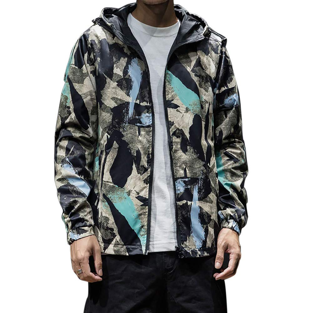 Longra Mens Two Sides Wear Thin Jacket Camouflage Printing Windbreaker Hooded Solid Coat Casual Autumn Top