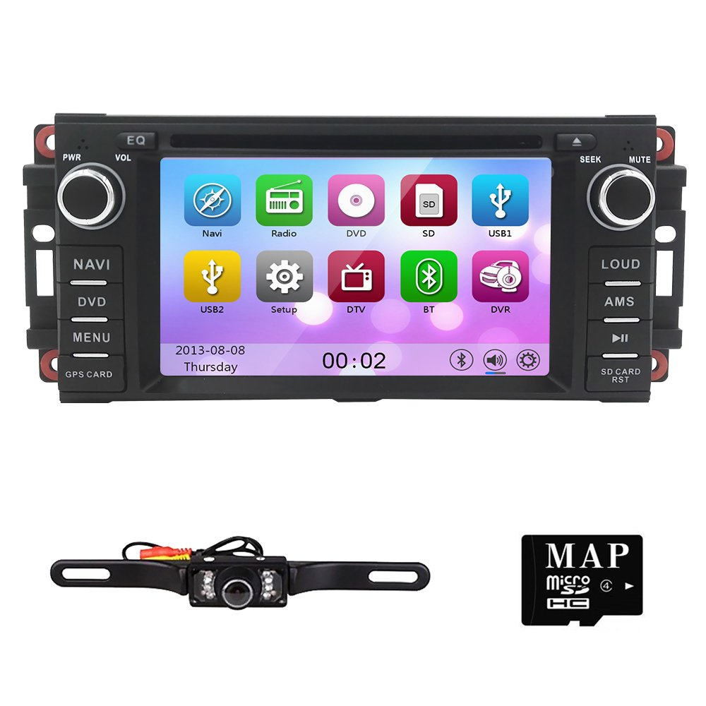 """Hizpo Car Stereo GPS DVD Player for Dodge Ram Challenger Jeep Wrangler JK Head Unit Single Din 6.2"""" Touch Screen Indash Radio Receiver with Navigation Bluetooth/3G by HIZPO"""