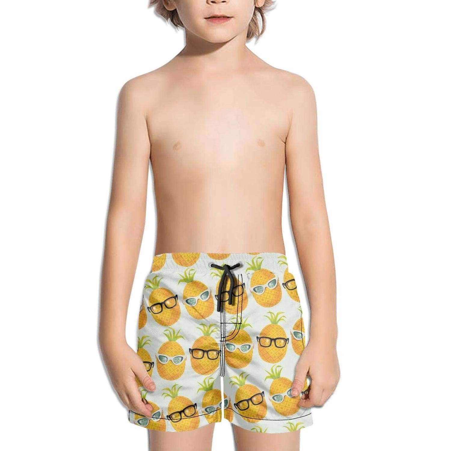 Ouxioaz Boys' Swim Trunk Pineapple with Glasses Cool Beach Board Shorts
