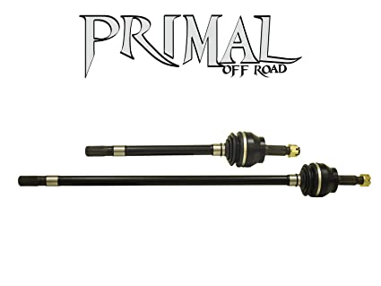SuperATV Primal Offroad Heavy Duty Dana 44 Jeep Wrangler TJ Front CV Axles  (2003-2006) - Comes with Long and Short Shafts