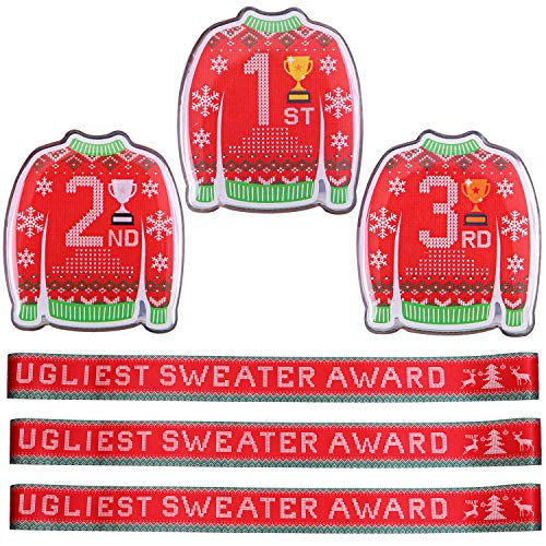 Cooraby 3 Pieces Christmas Ugly Sweater Award Sashes and 3 Pieces Top Three Sweater Medal Badge for Home or Office Christmas Sweater Party Supplies (Trophy Christmas Ugliest Sweater)