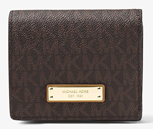 Michael Kors Jet Set Travel Logo Card Holder - Brown - - Stock Michaels Kors