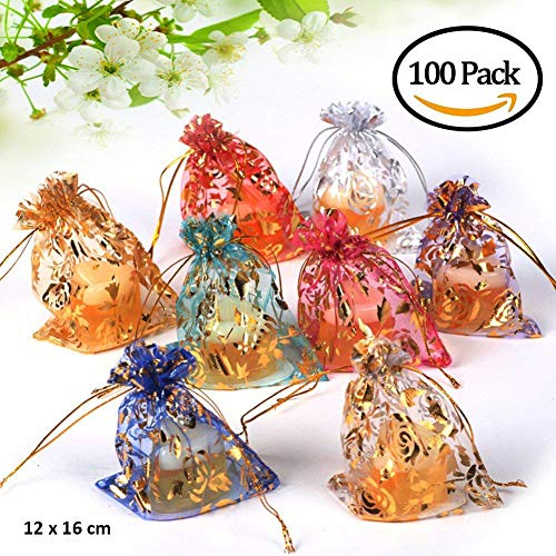 (100 Pcs Sheer Drawstring Organza 4.5 x 6 Multicolor Jewelry Pouches Wedding Party Christmas Favor Gift Bags with Exquisite Bronzing Rose Pattern (Multicolor-2, 4.5