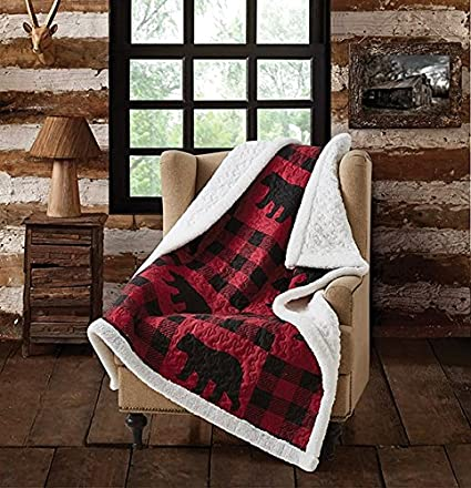 e8133ba347 Image Unavailable. Image not available for. Color  Virah Bella Buffalo Plaid  Rustic Black Bear Quilt Sherpa Throw Blanket (Red ...