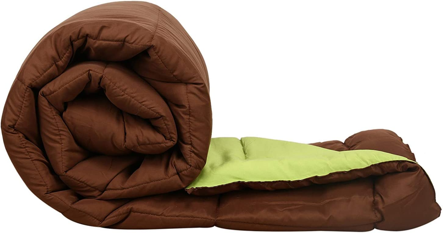Jaipuri haat Soft Microfiber Filled Single Duvet with Travel Bag (Green and  Chocolate, 200 GSM, Single): Amazon.in: Home & Kitchen