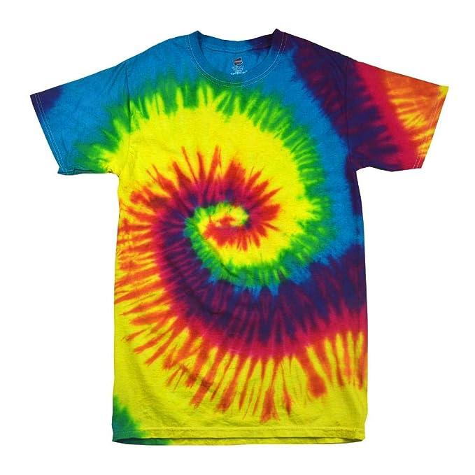e79242a34855cb Women s Colortone Rainbow Tie Dye Top Short Sleeved T-Shirt  Amazon ...