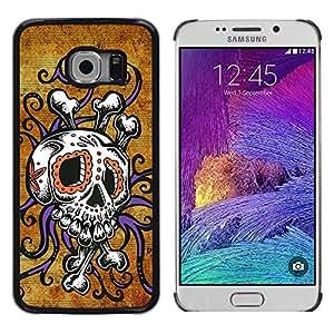 Cubierta protectora del caso de Shell Plástico || Samsung Galaxy S6 EDGE SM-G925 || Crossbones Gold Rustic Skull Octopus @XPTECH