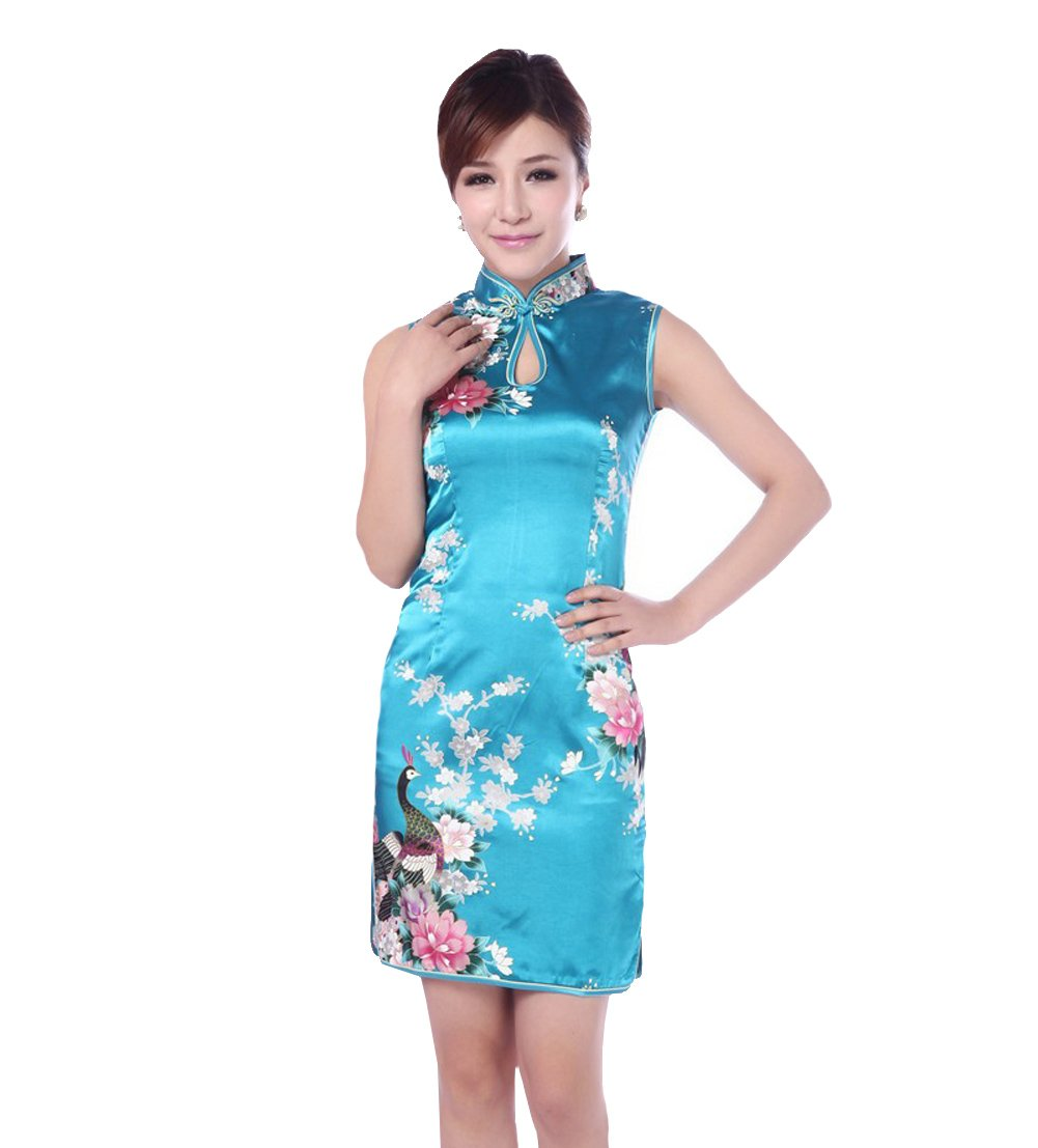 JTC(TM) Cheongsam Chinese Dress Han Costume Sleeveless Qipao Skirt 4colors (4, Blue)