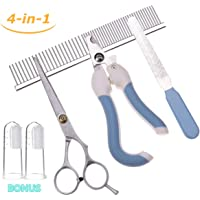 KABOER 4-in-1 Clipper Kit for Dog Gromming, Pet Nail Cutter & Nail Trimmer & Shear & Comb Set for Dogs Cats and Other House Animals with Extra 2 Bonus Toothbrush