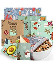 Reusable Food Wraps w/ Beeswax Assorted 9 Packs - Eco-Friendly Reusable Wraps, Biodegradable, Zero Waste, Organic, Sustainable, Plastic-Free Food Storage, 5S, 3M, 1L w/ Festival Animals Pattern