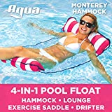 Aqua Monterey 4-in-1 Multi-Purpose Inflatable Hammock (Saddle,Lounge Chair, Hammock, Drifter) Portable Pool Float, Pink/White Stripe