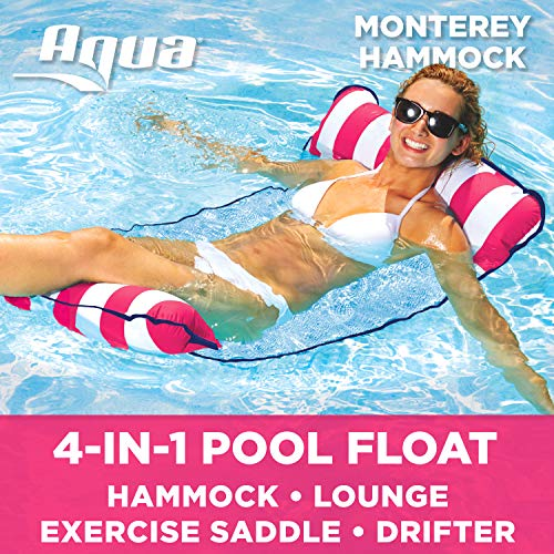 (Aqua Monterey 4-in-1 Multi-Purpose Inflatable Hammock (Saddle,Lounge Chair, Hammock, Drifter) Portable Pool Float, Pink/White Stripe)