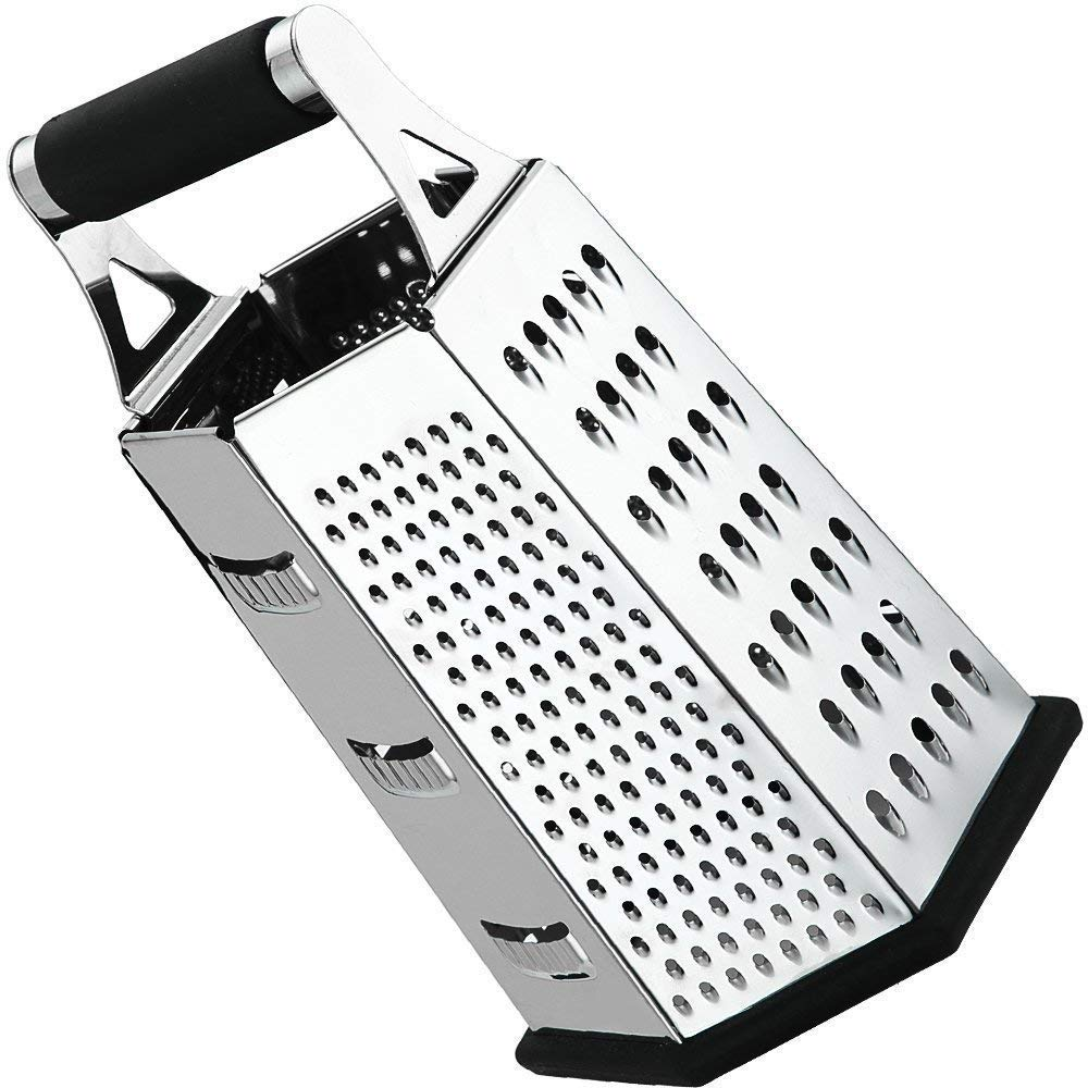 Cheese-Grater-Vegetable-Slicer Stainless Steel - 6-Sides, 9.5 Inch Height, Rubber Handle, Non Slip Rubber Bottom by Utopia Kitchen UK0081