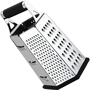 Utopia Kitchen Cheese Grater - Vegetable Slicer - Stainless Steel - 6-Sides - 9.5 Inches Height - Rubber Handle - Non Slip Rubber Bottom