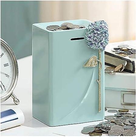 Fangsues Simple moderna Alcancía, Planta de dinero Caja Resina Talla adultos de flores cajas de ahorros Moda Decoración de Escritorio for niños regalos de monedas del Banco Crafts apoyos de la fotogra: