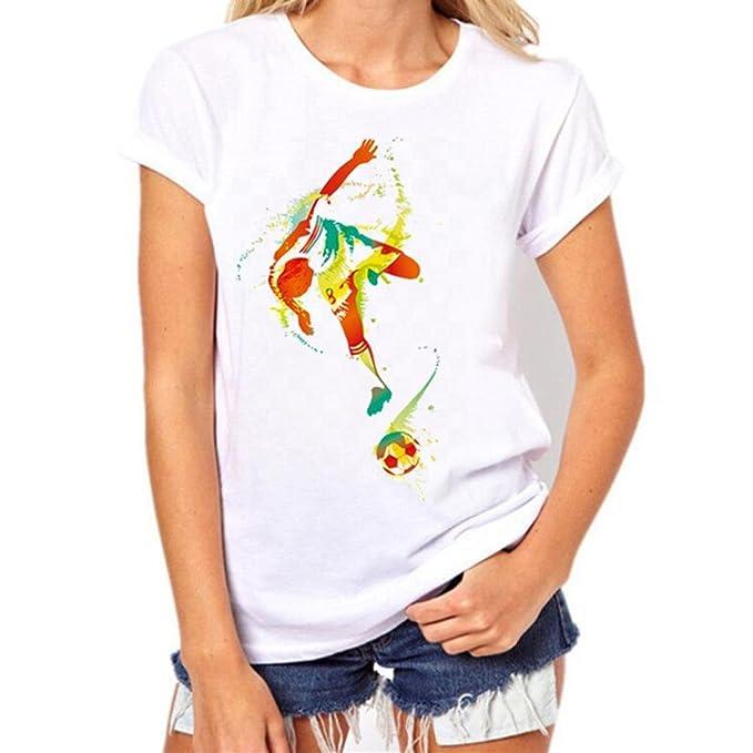Camisetas Unicornio Manga Corta Mujer LHWY, Camisetas Futbol Casuales Blusa Suelto Cuello Redondo Verano (