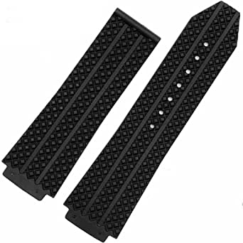 26mm x 19mm Black Strap to Fit Hublot Big Bang Tier Mens Watch Band Replacement Strap