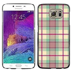 TopCaseStore / la caja del caucho duro de la cubierta de protección de la piel - Design Fabric Pink - Samsung Galaxy S6 SM-G920
