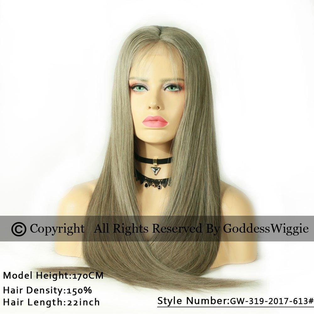 New Fashion Hair Color Ash Golden Brown Silky Straight Glueless Brazilian Human Hair Lace Front Wigs For Women (22inch 130%)