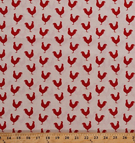 (Cotton Roosters Chickens Barnyard Fowl Poultry Cockerel Birds Farm Animals Country A Day On The Farm Red Tan Cotton Fabric Print by The Yard (4676-26440))