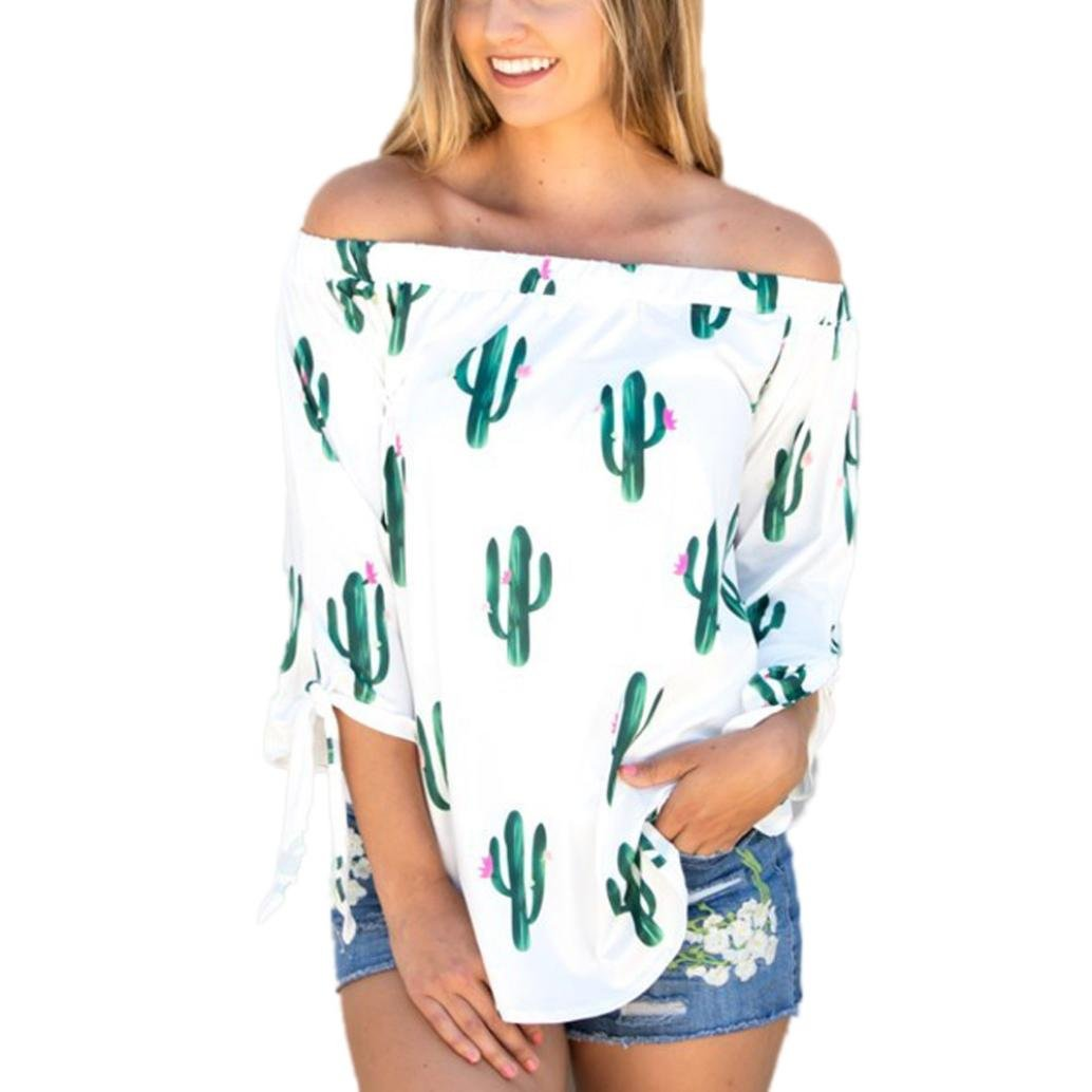 Fheaven Womens Loose Casual T Shirt Off Shoulder Cactus Printing Tops Blouse (XL, White)