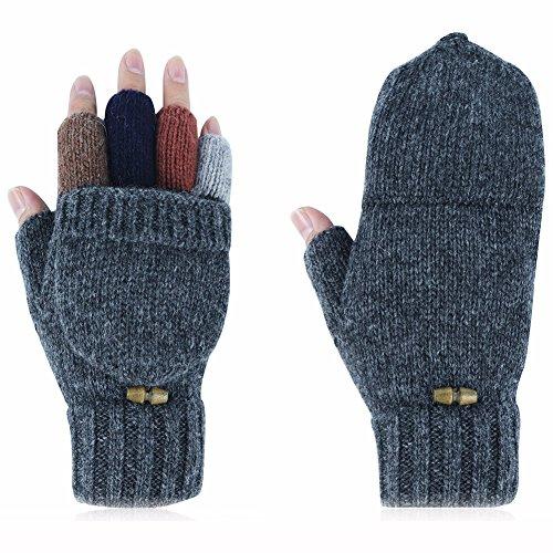 Kay Boya Winter Knit Wool Gloves Thicken Warm Gloves Fold Back Gloves for Men & Women (Grey) by Kay Boya (Image #2)
