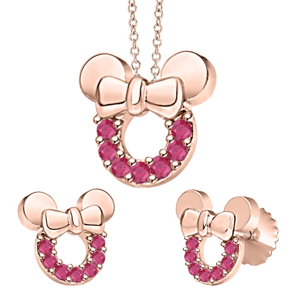 tusakha Minnie Mouse Bow Pendant Necklace Earrings Set Gemstone 14k Rose Gold Over .925 Sterling Silver for Womes Girls