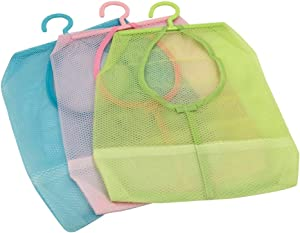 TuuTyss,Multipurpose Clothespin Bag with Hanger,Hanging Storage Mesh Bag for Home Over The Door Pack of 3-Blue/Green/Pink