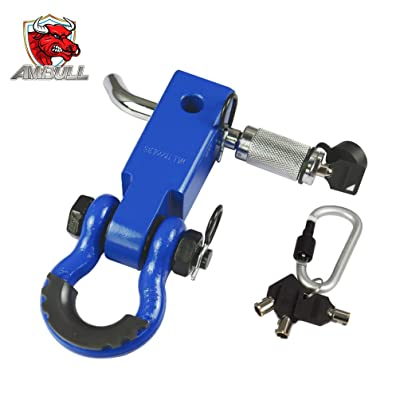 AMBULL Shackle Hitch Receiver 2 Inch, with 3/4 Inch D-Ring Shackle, Locking Pin, 2 Insurance Pins, Heavy Duty Solid Recovery Kit, Blue: Automotive