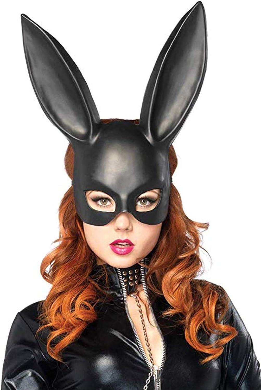 Ulalaza Frauen Bunny Mask Kost/üm Black Rabbit Half Mask f/ür Halloween Ostern Maskerade Zubeh/ör