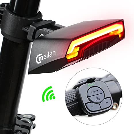 2db38d11f50 Meilan Smart Bike Tail Light X5 USB Rechargeable with Wireless Remote Turn  signals Laser Beams for