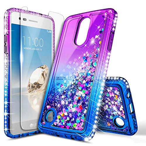 LG Aristo Case, LG K8 2017 /Phoenix 3 /Fortune/Rebel 2 LTE/Risio 2 with Tempered Glass Screen Protector, NageBee Glitter Bling Liquid Waterfall Floating Sparkle Girls Kids Cute Case -Purple/Blue