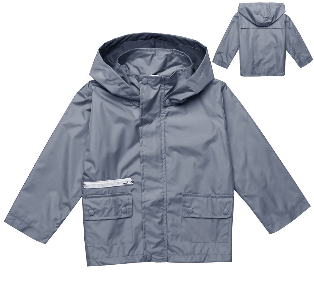 Girl's Fashion Front-Zip Hooded Outdoor Solid Raincoat Jacket (100, Gray 2)