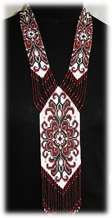 traditional folk Ukraine necklace Beaded long necklace Handmade Jewelry Creative Master Ukrainian Gerdan
