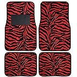 BDK MT-902-RD 4-Piece Animal Print Velvet Carpet Floor Mat for Car SUV Truck