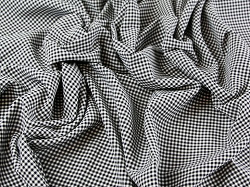 Polyester & Viscose Tiny Gingham Check Dress Fabric Black - per ()