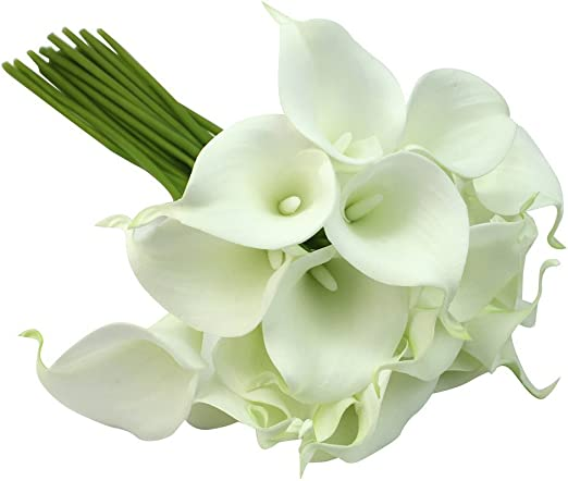 Calla Lilly foam heads white green wired stem craft wedding dressmaking cards