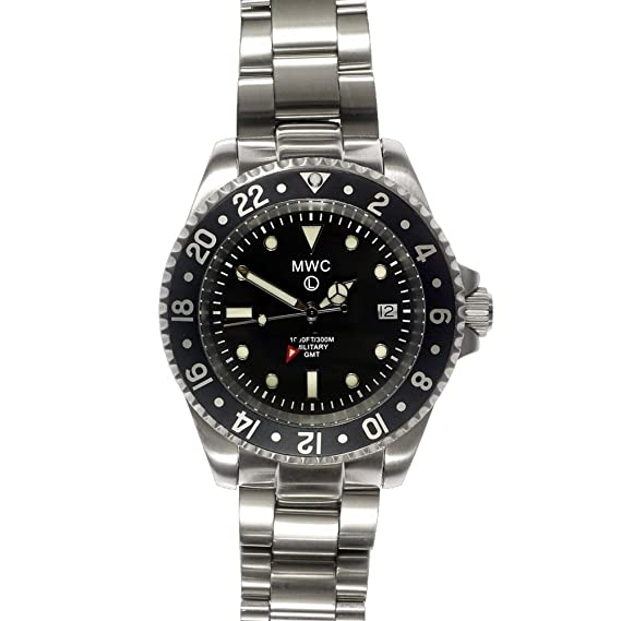 MWC Swiss Quartz GMT 300 M Submariner negro reloj de pulsera para hombre de acero inoxidable