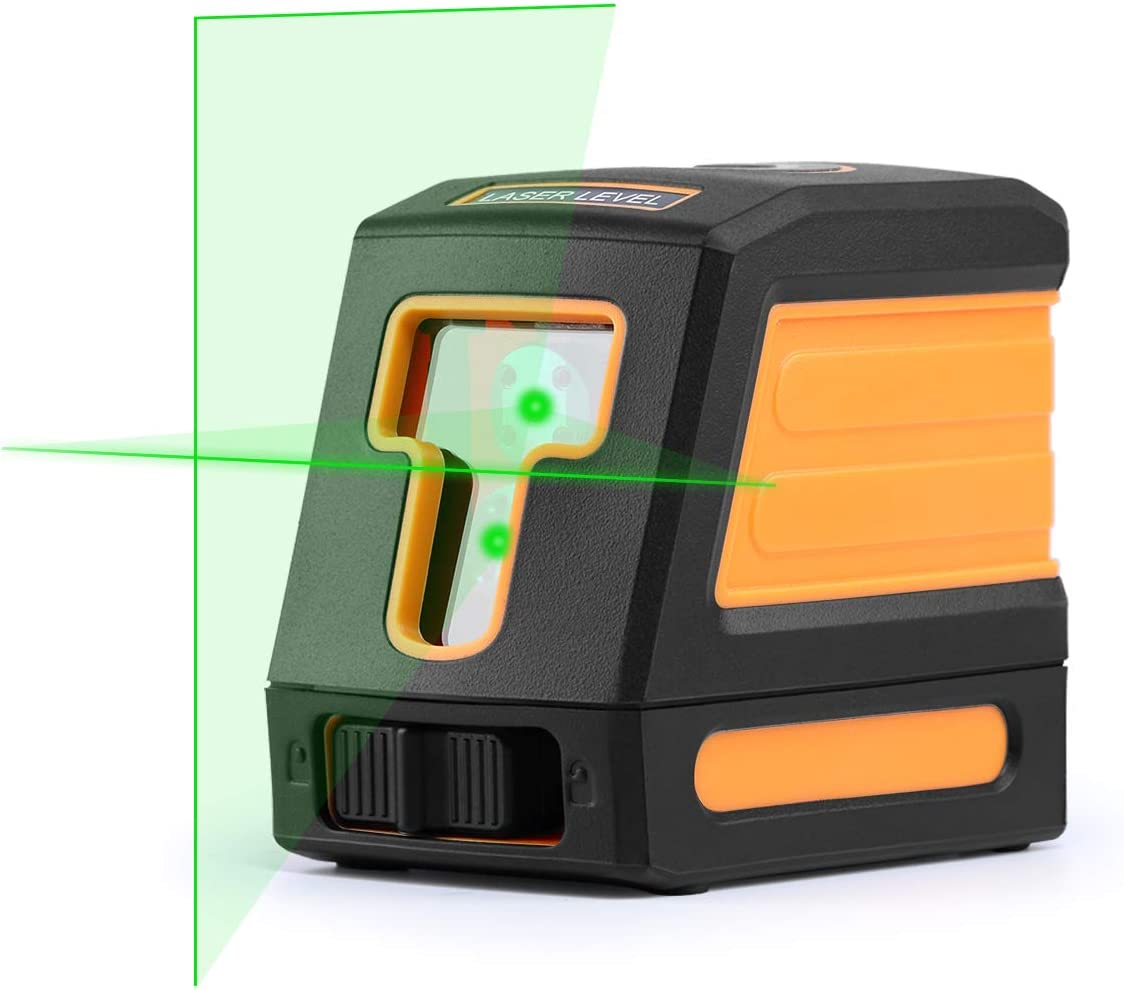 Tikaton Laser Level, 901CG Self-Leveling Horizontal and Vertical Cross-Line Laser – Magnetic Mount Base and Carrying Pouch Green-Light