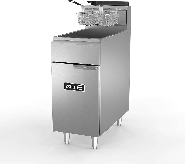 Fryer, natural gas, floor model, 50 lb. capacity, (3) 38,000 BTU burners, millivolt controls, Asber AEF-4050 S