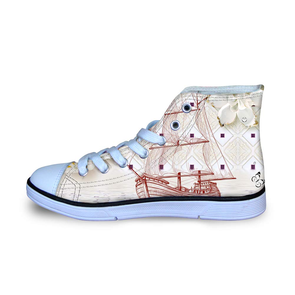 Canvas High Top Sneaker Casual Skate Shoe Boys Girls May Flower Sailboat Butterfly