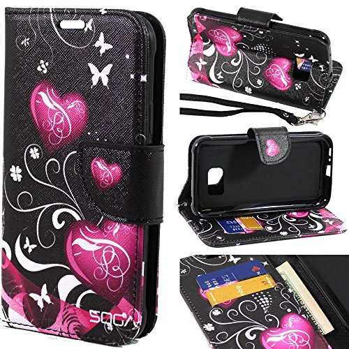 Galaxy S7 Active Case, Samsung Galaxy S7 Active Wallet Case, SOGA [Pocketbook Series] PU Leather Magnetic Flip Design Wallet Case for Samsung Galaxy S7 Active - Black Butterfly Heart