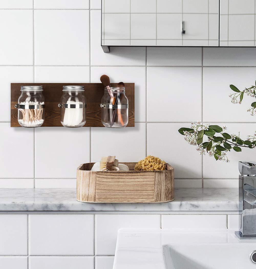 Mkono Wall Mason Jar Organizer Bathroom Storage Accessories Toothbrush Makeup Utensil Holder Decorative Hanging Planter with Wooden Board Rustic Home Decor