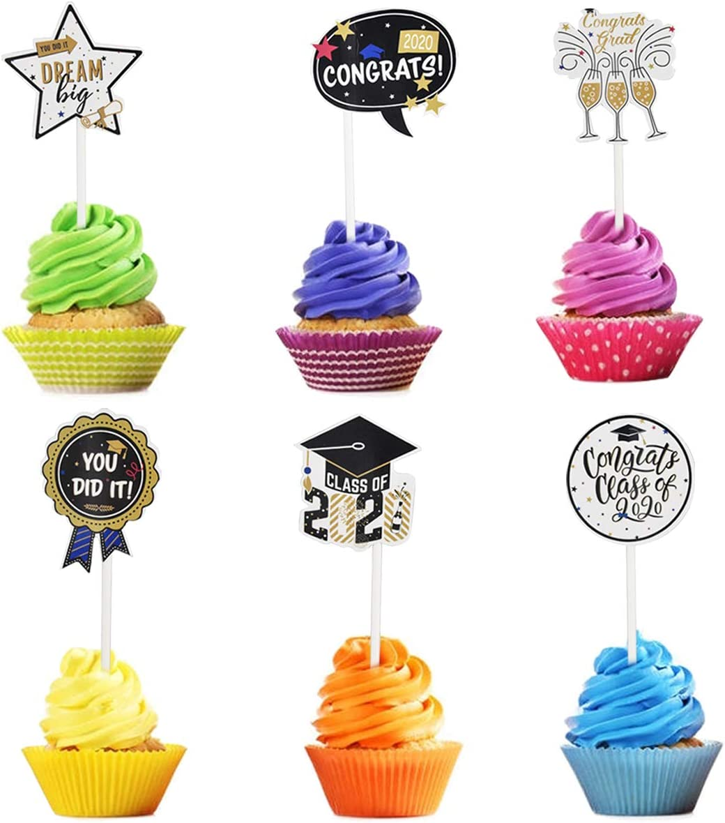 68 Pcs Graduation Party Decoration Graduation Theme Party Supplies Hanging Swirl Photo Booth Props Cupcake Topper Big Selfie Photo Prop with Congrats Grad Card for Background Wall Cakes Photographing