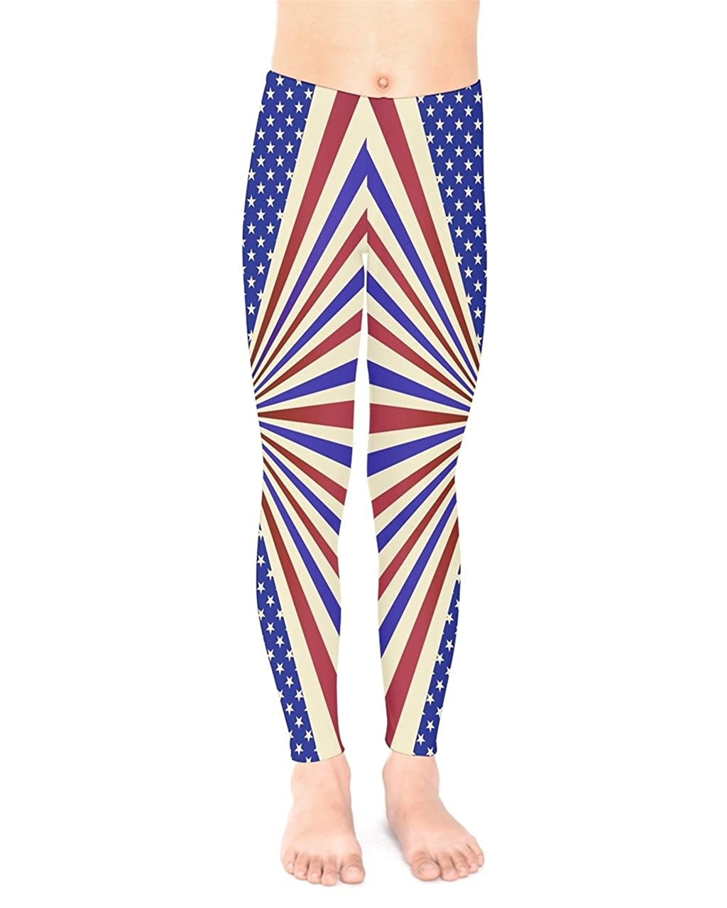 PattyCandy Unisex Vintage Patriotic USA Flag Star Stripes Waves Kids Leggings Stretchy Tights Size:2-16