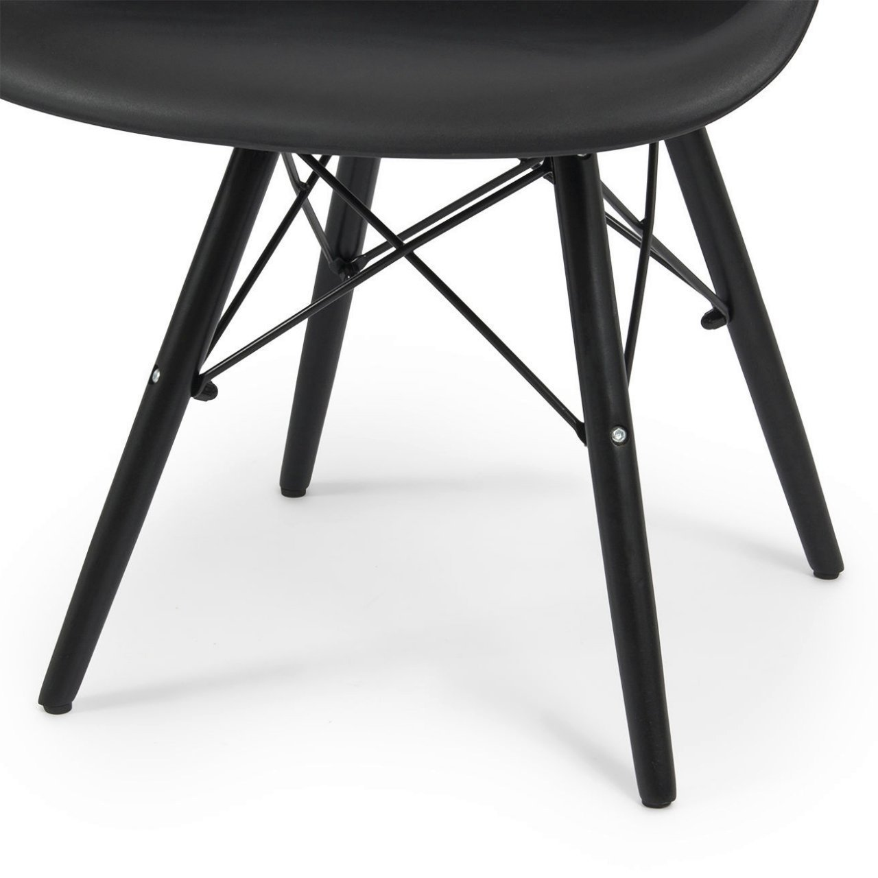 Modern Dining Chair Molded ABS Plastic Dowel Black Wooden Legs Posture Support Backrest Design Innovative Side Chair - Set of 2 Black #1442 by Koonlert@Shop (Image #5)
